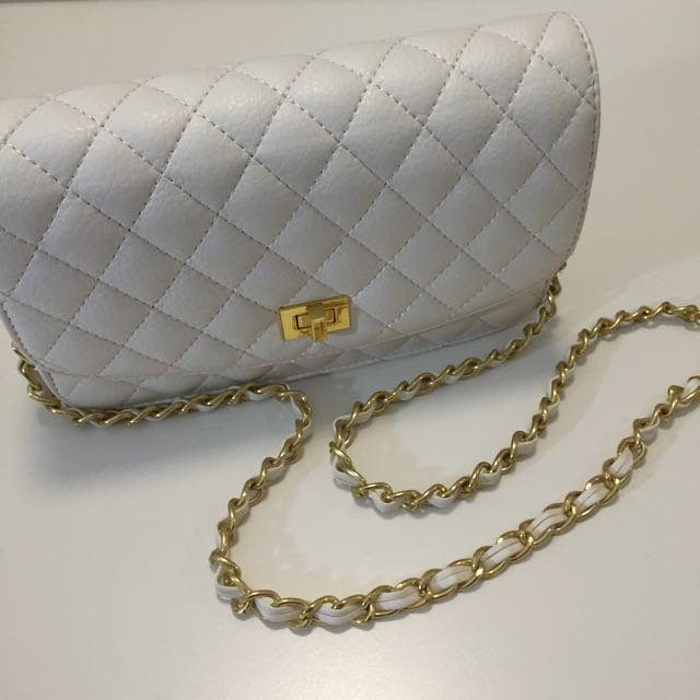 White Quilted Sidebag