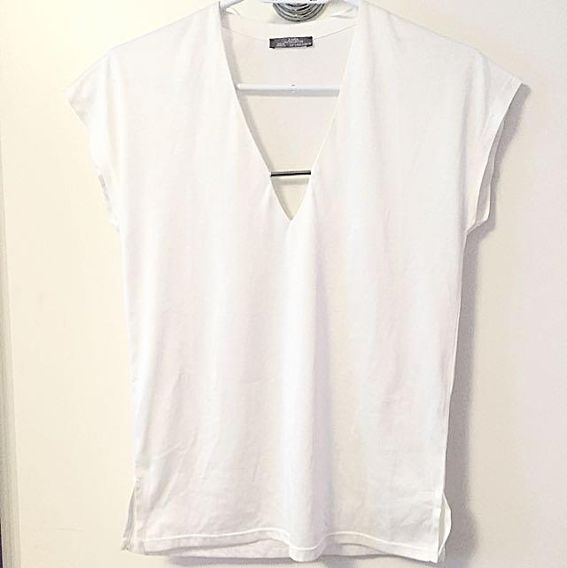 Zara White V-neck With Metal Bar Detail