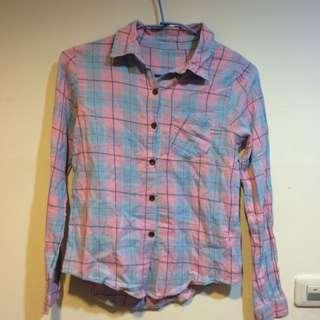 出清拍賣 一件$100 粉藍 格子 襯衫