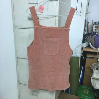 燈芯絨蜜桃絨磚紅吊帶裙