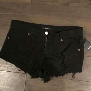 Black Crocheted Forever 21 Shorts