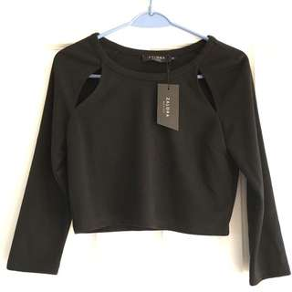 Zalora Black Cropped Top