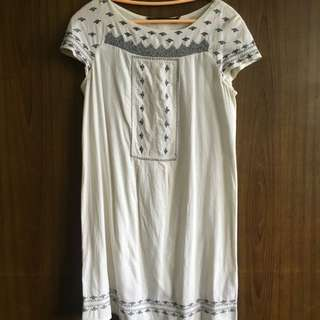 Zara Embroidered White Dress