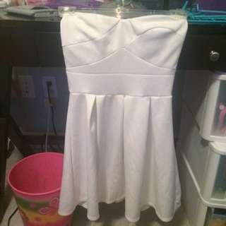 Short White Strapless Dress, Looks New