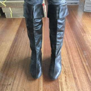 Wittner Brown Leather Boots Size 8