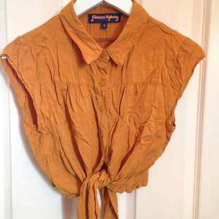 Princess Highway Size 10 Button Down Cropped Tie Up Yellow Shirt