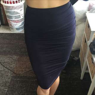 BARDOT Navy Blue Midi Skirt