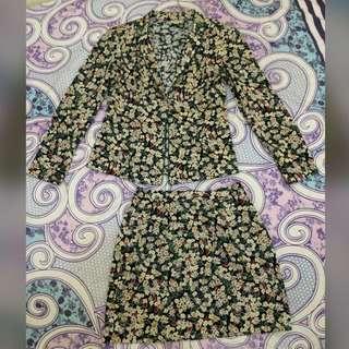 DIOR Blazer Dan Skirt Motif Floral (Size S)
