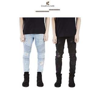 歐美高端破壞牛仔褲 窄版牛仔褲