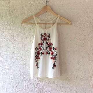 Floral Embroidered Halter Neck Top