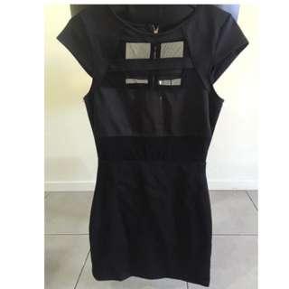 Black Mesh Panel Dress