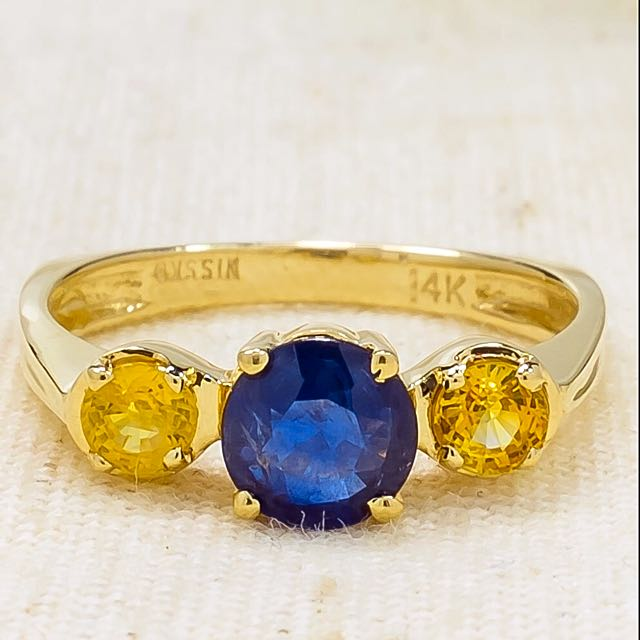 14 Carat Yellow Gold Natural 1.55 TCW Blue And Yellow SAPPHIRE