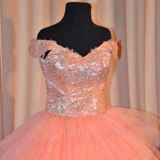 Peach Off Shoulder Ball Gown