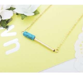 ForPrincess 韓國飾品簡約橫槓大理石紋短鍊項鍊