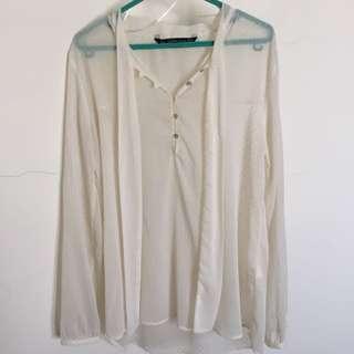 Zara Trf - Broken White Long Sleeve Shirt