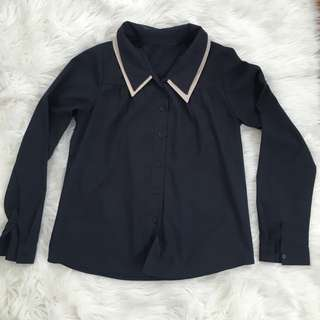 Dark Blue Button Down Polo