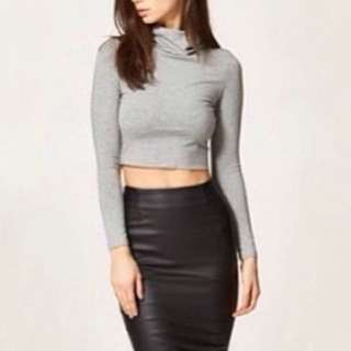 Grey Turtle Neck Crop Top Size Small
