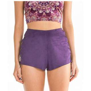 Liberated Heart Purple Suede Shorts. Size Medium