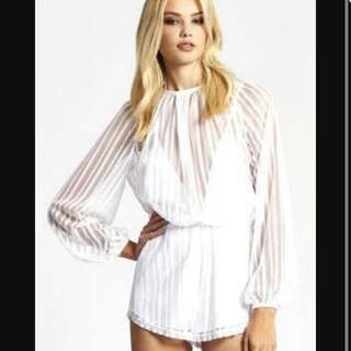 Alice Mcall White Mesh Jumpsuit Size 10.