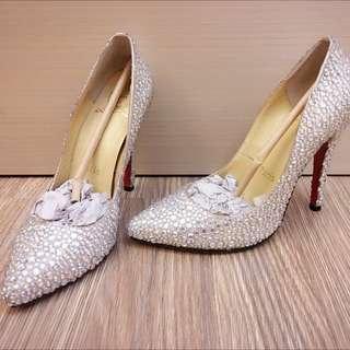 歐美 滿滿水鑽 銀色 超閃 亮晶晶 高跟鞋 紅底