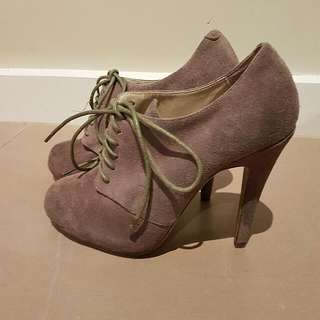 Suede Grey Ankle Boots With Laces