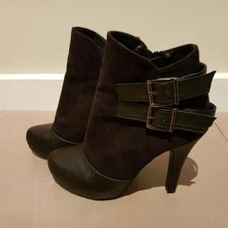 Suede Ankle Boots With Side Buckles