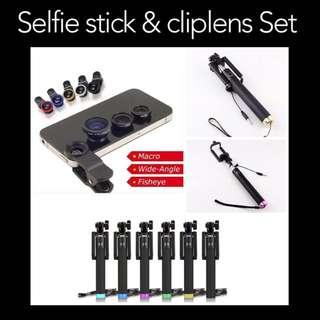 Selfie Stick & Clip Lens Set