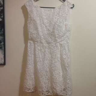 White Embroidered Dress Low Back Floral Summer
