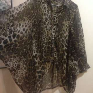 Leopard Animal Cheetah Print Cape Top Jacket Bat Sleeves Mullet