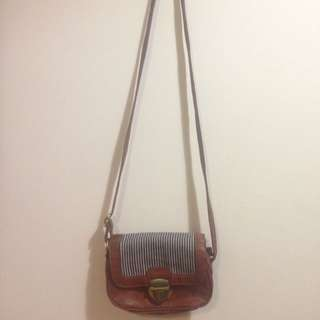 Brown Sailor Striped Bag Shoulder Body Strap