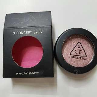 降!【全新過期品】韓國 3CE 【粉色】單色亮片眼影 #Venus色