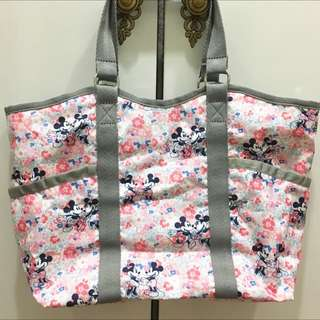 Lesportsac X Disney Floral Mickey Love Minnie Mouse Carryall Tote Bag w Sling