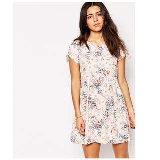 Love Smock Dress With Tie Sleeves