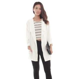 Premium Double Pocket Blazer In White (BNIP)