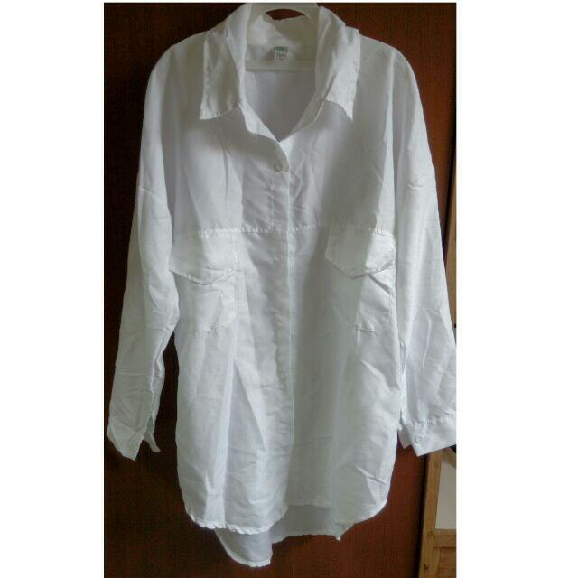 微絲質白色長袖長版襯衫