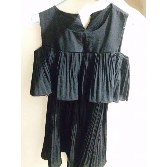 東大門韓貨黑色露肩氣質洋裝