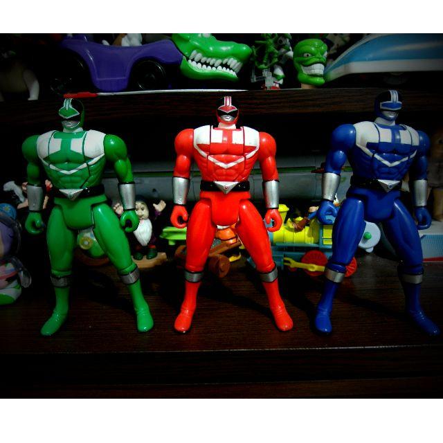 未來戰隊 紅藍綠戰士 換頭可動人偶 3隻
