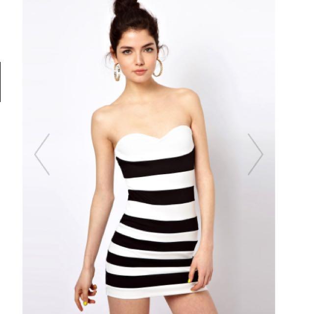 新 Asos 黑白條紋修身平口窄裙洋裝
