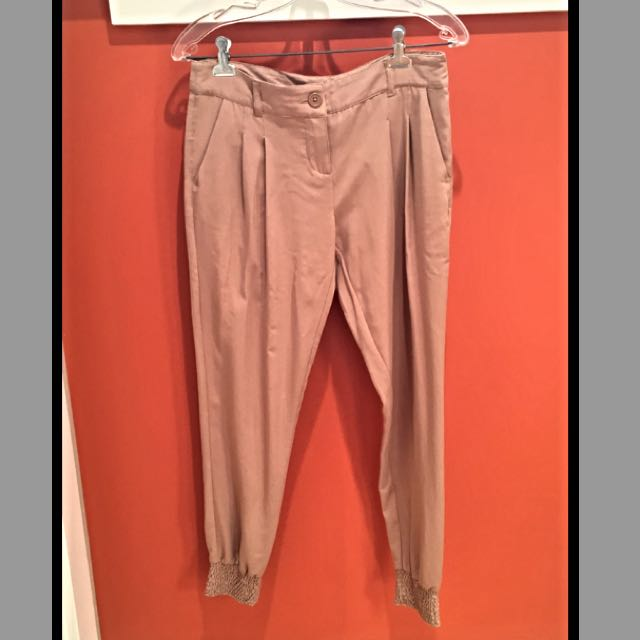 Beige Ankle Pants