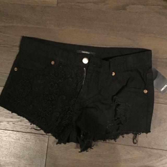 Black Crocheted Forever 21 Shorts