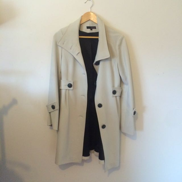 Cream Winter Coat Size 10