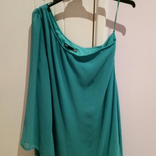 Dotti Off The Shoulder Jade Green Dress