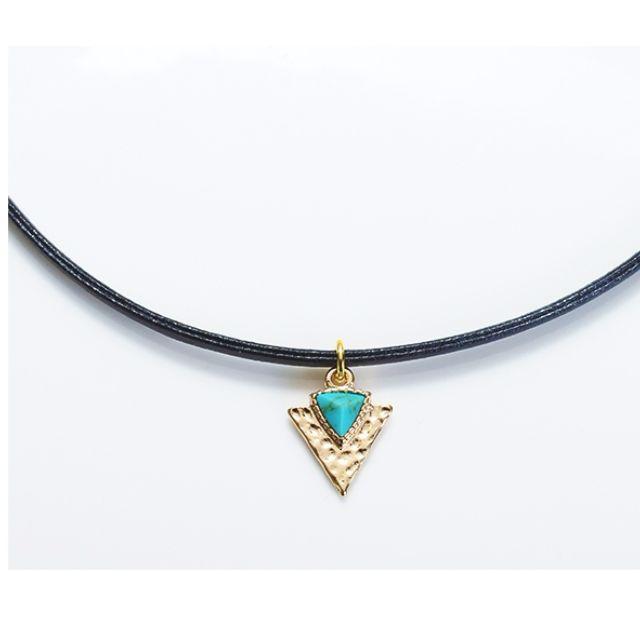 ForPrincess 韓國飾品三角形大理石紋頸鍊項鍊