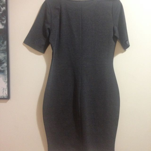 Grey Bodycon Dress Skin Tight Kim Kardashian Style