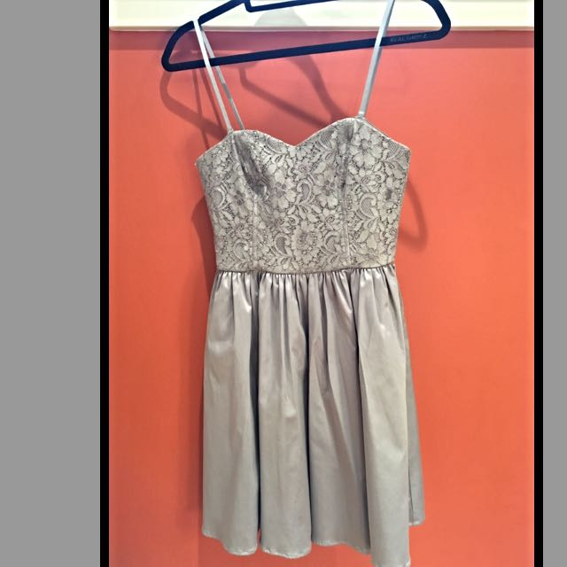 Grey Lace/Satin Dress (Convertible Straps)