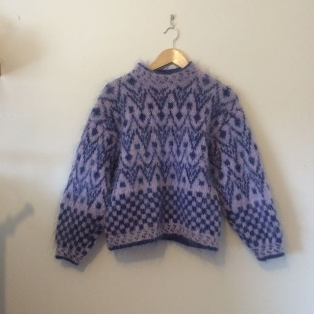 Hand Knitted Fluffy Jumper Size S-M