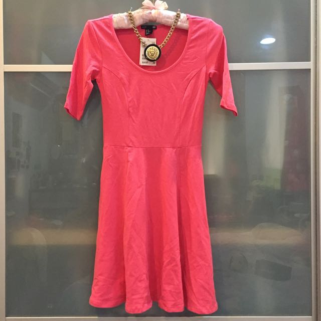 H&m 棉質超美裙擺 合身傘狀螢光粉洋裝