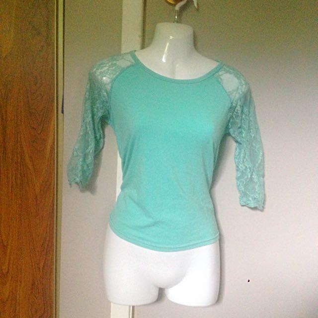Mint Elbow Length Shirt