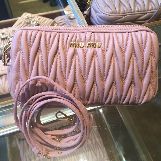 MIU MIU Orchidea Pink Nappa Matelasse Leather iPhone 6+ Crossbody ... 81e129a572fa5