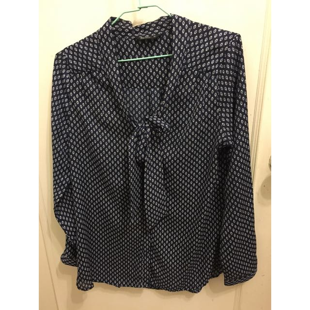 Net 深藍復古變形蟲雪紡襯衫 8號